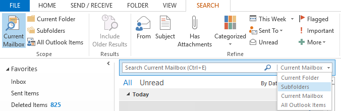 Microsoft Outlook 2013 search bar