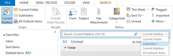 Microsoft Outlook 2013 search bar